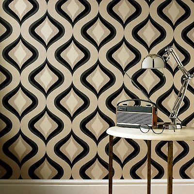 Superfresco Easy Paste The Wall Trippy Retro 60s Charcoal Wallpaper