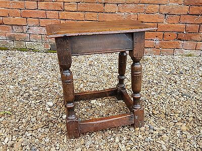 17th Century English Antique Oak Joint Stool Circa 1680