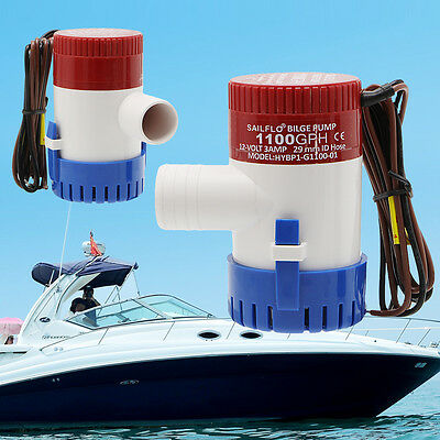 1100GPH Bilge Pump 12V 3AMP 12N Marine Water Pump Submersible Yacht Boat