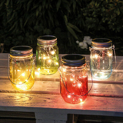 4 Solar Powered Outdoor Garden Decking Table Glass Mason Ombre Jar Led Lights