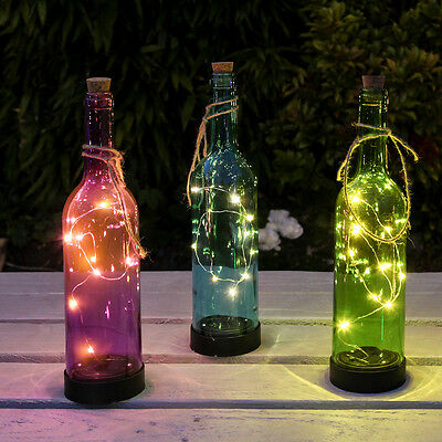 3 Glass Solar Powered Outdoor Garden Patio Table Bottle Summer Party Led Lights