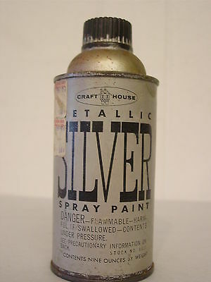 Vintage spray paint can metallic silver Craft House