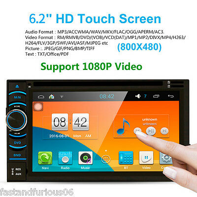 6.2'' HD Car DVD GPS Player 2 DIN Bluetooth WIFI Android SD/USB/FM/AM Quad Core