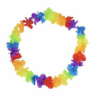 Multicolour Hawaiian Lei Hibiscus Flower Tiki Hula Fancy Dress Garland Multipack
