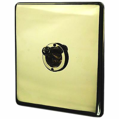 Crabtree Double Toggle Switch Brass Polished 2 Gang Way 10 Amp Light Switch