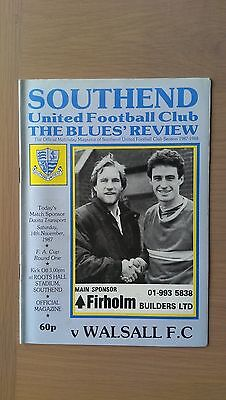Southend Unted V Walsall 1987-88.