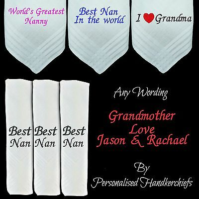 1 Personalised Handkerchief Gift Gran Nan Nanny Grandmother Day Any Name Words