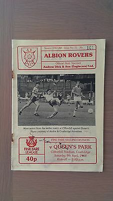 Albion Rovers V Queens Park 1987-88