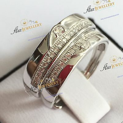 Real 925 Sterling Silver with CZ Adjustable (Size 5-9) Couple Wedding Rings