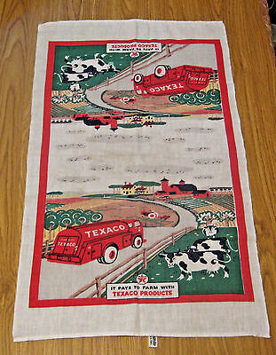 Scarce Nos Vintage Texaco Gas & Oil Advertising Picture Dish Towel ~ Estate Find