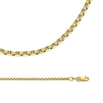 Box Chain Solid 14k Yellow Gold Necklace Round Link Hollow Light , 1.8 mm