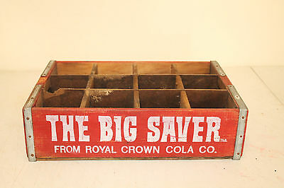 Royal Crown Cola Bottle Crate Vintage Wooden Carrier Advertising The Big Saver 2