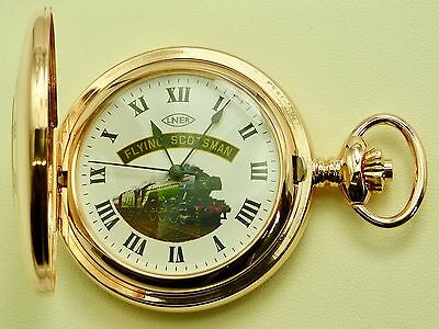Rose Gold Plated Mechanical Special Ed. Flying Scotsman Half Hunter Pocket Watch