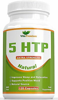 5-HTP 120 Veggie Capsules - For Deppresion, Anxiety, Insomnia, Stress and Mood
