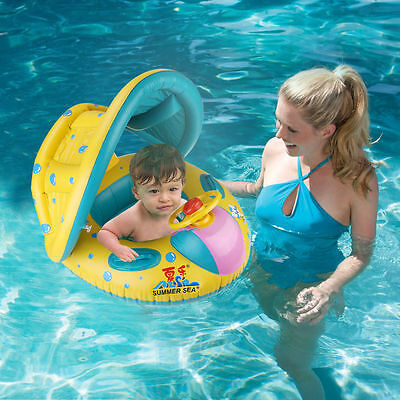Adjustable Inflatable Sunshade Baby Kid Float Seat Boat Swim Pool Ring Wheel
