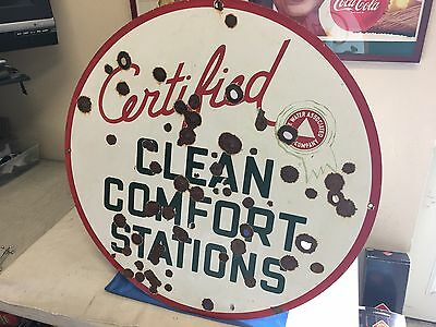 Tide Water Oil Company Porcelain SIGN (FLYING A) VINTAGE DOUBLE SIDED GAS & OIL