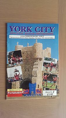 York City V Shrewsbury Town 1992-93