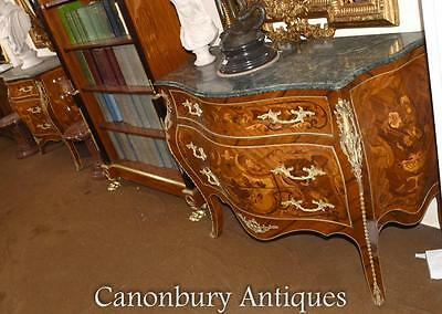 French Louis XVI Chest Drawers Bombe Form Commode with Marquetry Inlay