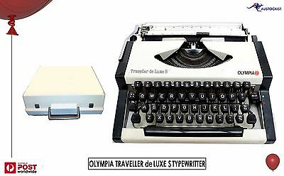 OLYMPIA TRAVELLER de LUXE S TYPEWRITER 1968 Shell Case Lid White Mint Co' HipstA