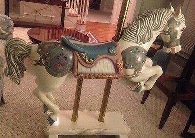 S & S Woodcarvers  Antique Jeweled Wooden Carousel Rocking Horse