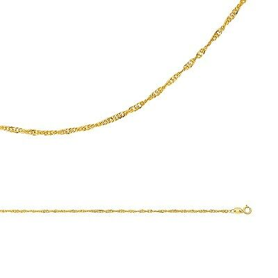 Singapore Necklace Solid 14k Yellow Gold Chain Twistd Hollow Thin , 1.6 mm