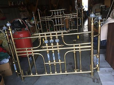 Vintage Queen Size Brass And Marble Bed