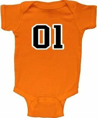 Infant Baby Orange Dukes of Hazzard 01 General Lee Charger Baby Romper