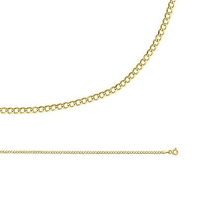 Cuban Chain Solid 14k Yellow Gold Necklace Curb Link Thin Dainty , 2 mm