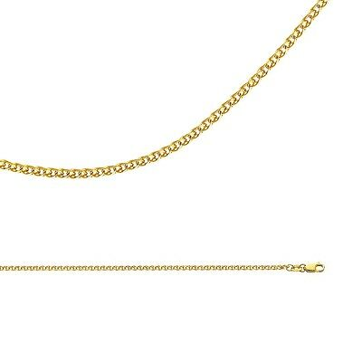 Wheat Chain Solid 14k Yellow Gold Necklace Flat Cable Open Link , 2 mm