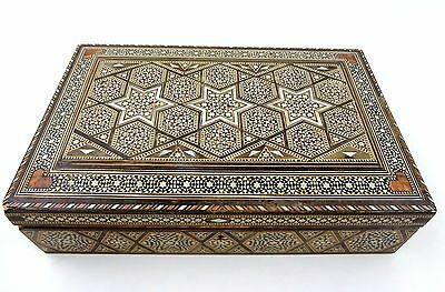 Vintage Mosaic Inlay Jewelry Box Mother of Pearl Wood Star Of David Large Detail