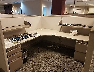 LOT OF 8 OFFICE CUBICLES With Cabnets,Shelves AC outlets. SHIP AVAILABLE