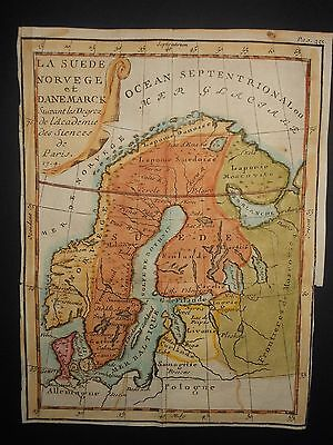 Sweden Norway Denmark 1714 Map Hand Colored Russia Frontier Arctic Circle