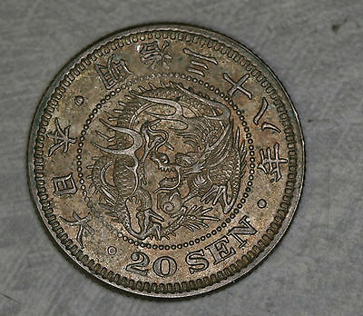 Japan 20 Sen Coin 1905 (Year 38)  AU / Almost Uncirculated  NICE!! Y38 Details