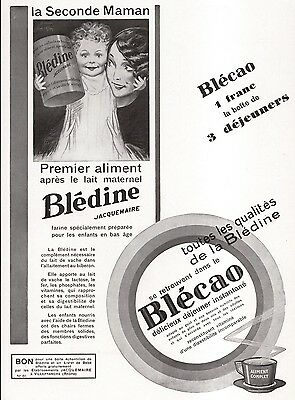 1930 French Print Ad Baby Food Drink Bledine Jacquemaire Blecao