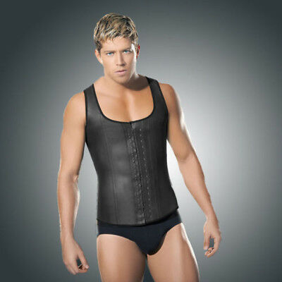 Men's Corset Vest Latex Waist Training Cinchers Shaper Steel Boned