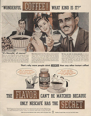 1947 Ad Nescafe Solubale Coffee 1 cent a Cup