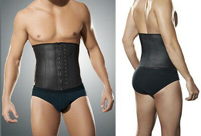 Men's Latex Waist Training Cincher Corset Underbust Shapewear Steel Boned