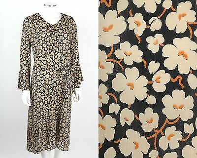 VTG 1920s BLACK FLORAL PRINT SILK LONG SLEEVE FLAPPER DAY DRESS SZ L