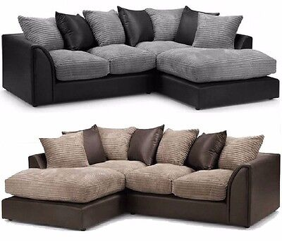 Byron Jumbo Cord Corner Group Sofa, Brown & Beig, Right or Left