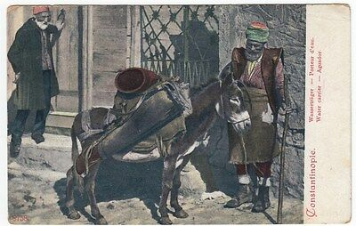 PPC: Water carrier with donkey, Constantinople 1907