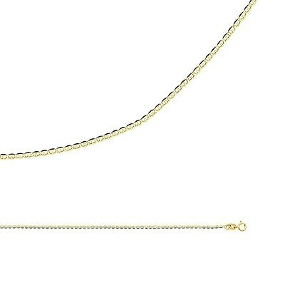 Mariner Chain Solid 14k Yellow Gold Necklace Flat Anchor Thin , 1.4 mm