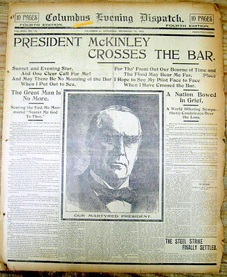 16 display newspapers Sept 1901 ASSASSINATION & DEATH President WILLIAM McKINLEY
