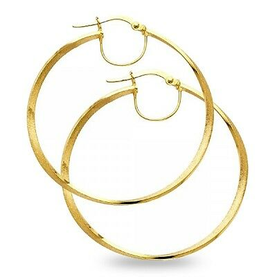 Round Tube Hoop Earrings Solid 14k Yellow Gold French Lock Sand Satin Finish