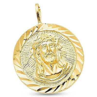 14k Yellow Gold Round Jesus Stamp Pendant Christ Medal Charm Diamond Cut Solid
