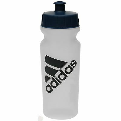 Adidas Performance Water Bottle 500ml Clear With Blue Logo Gym Sports Brand New