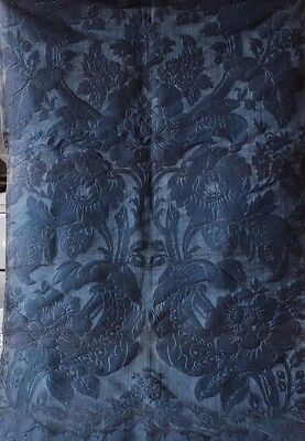 French Antique 19thC Indigo Silk & Cotton Home Dec Frame Fabric Textile