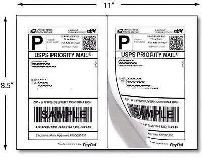 """400 Premium Self Adhesive Shipping Labels 8.5""""x5.5"""" 8.5""""x11"""" 200 Sheets Sticky"""