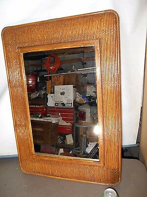 """Vintage Mid Century Modern SYROCO Wall Mirror  34 1/4"""" x 24"""" wide , Resin Bamboo"""