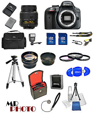 Nikon D3300 Digital SLR Camera Black +3 Lens: 18-55mm VR Lens + 32GB Bundle