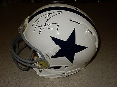 5d732749a91 TONY ROMO AUTOGRAPHED Game Used Helmet Riddell Dallas Cowboys COA ...